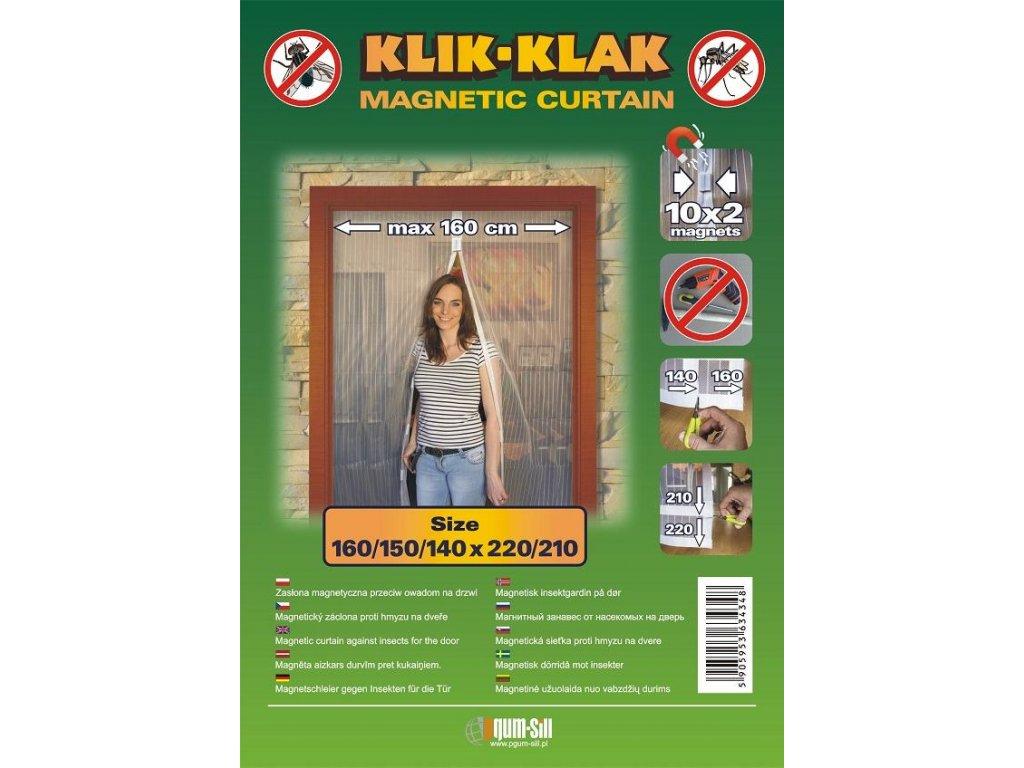 Síť proti hmyzu do dveří široká 1,6m černá magnetická KLIK-KLAK