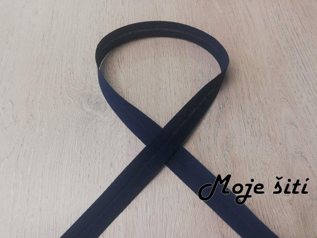 Šikmý proužek 20mm Bavlna založený - Tmavě modrý