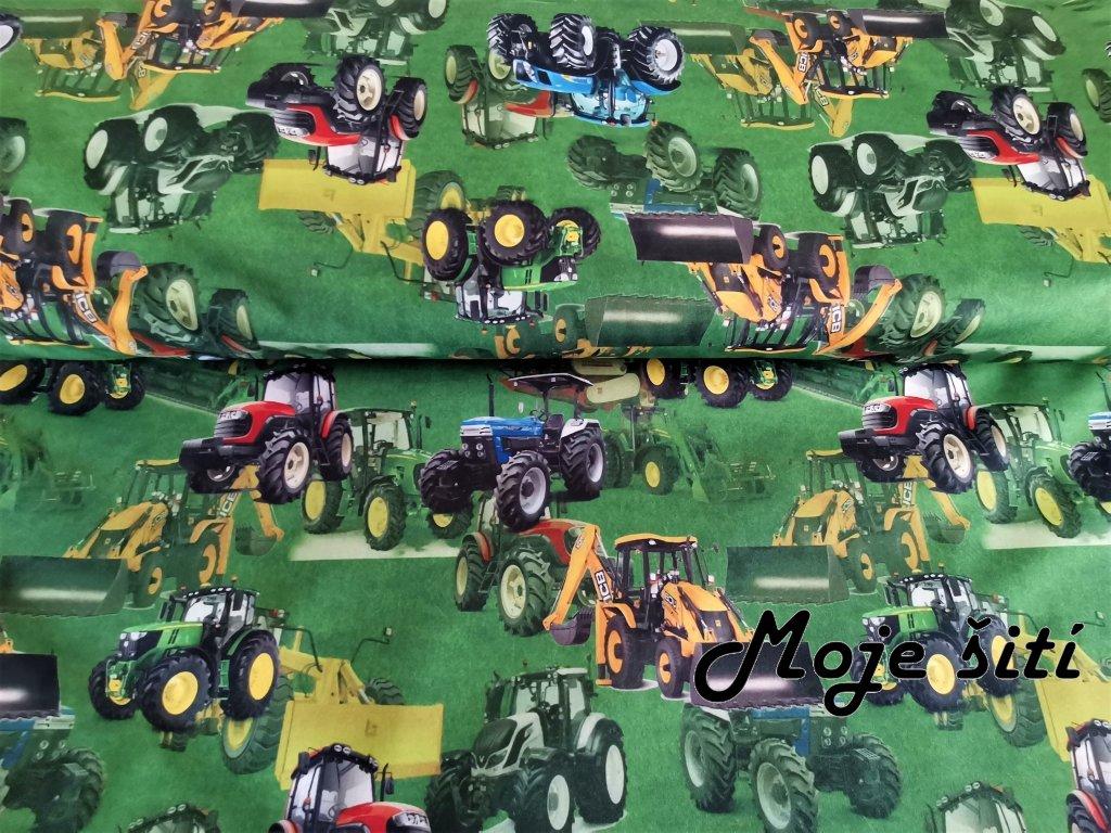 Traktory a bagry na trávě