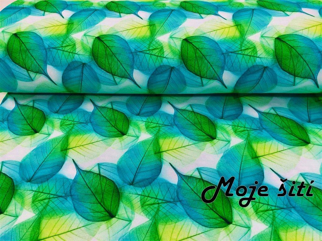 uplet s elastanem zelene listky