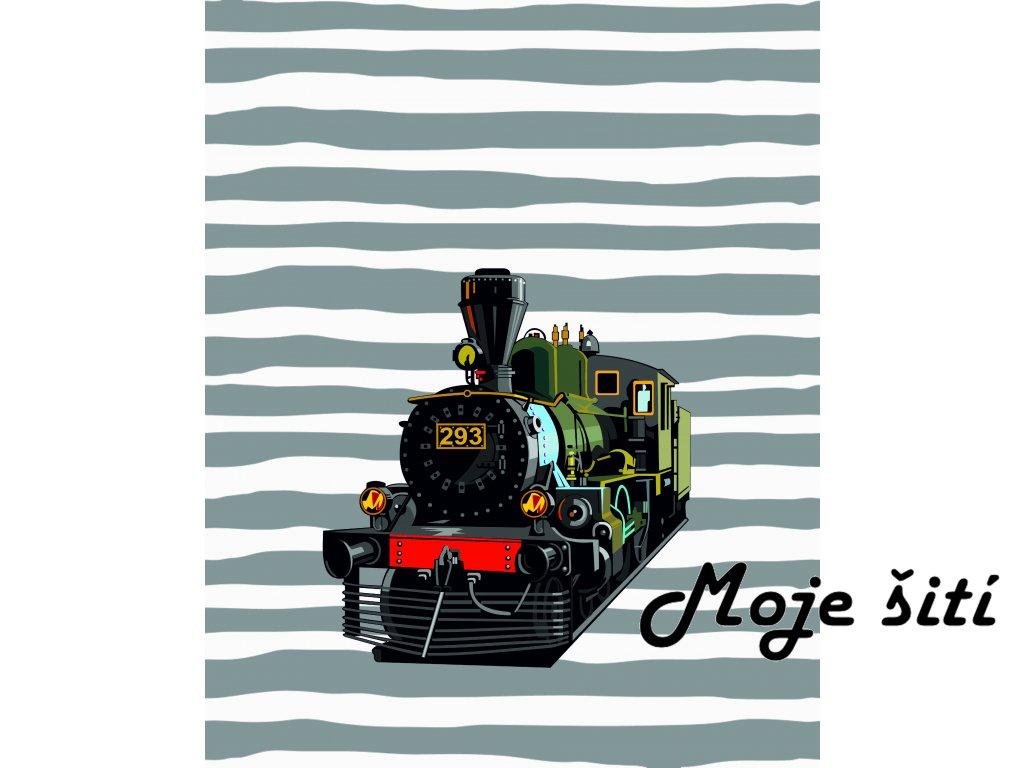 lokomotiva a pruhy 40x50