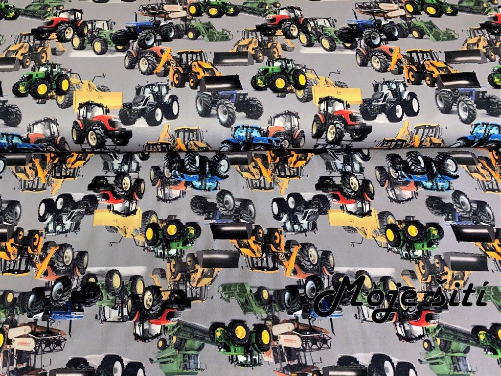 traktory a bagry na šedé