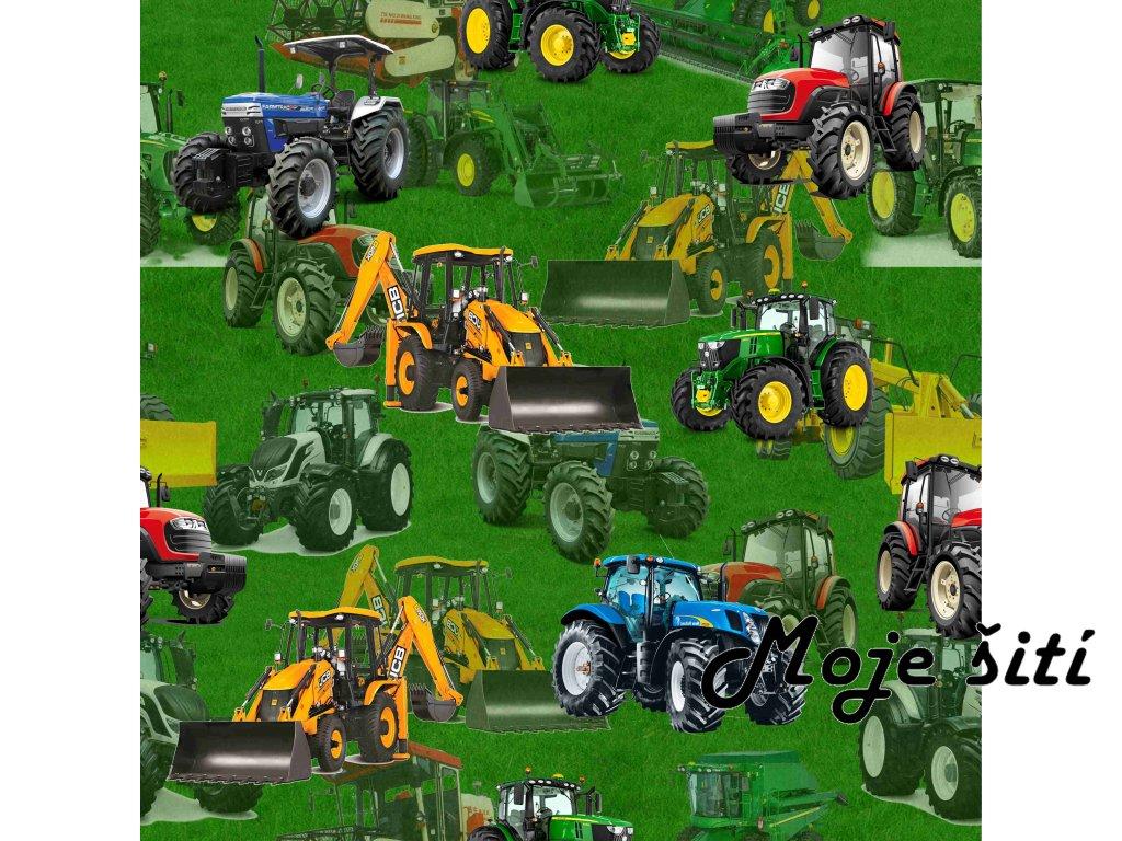 traktory bagry na trávě