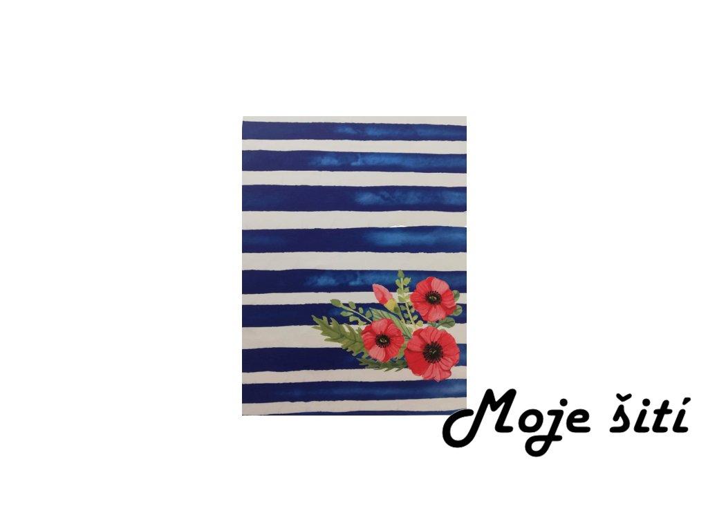 kocarkovina panel mak na modrych pruhach