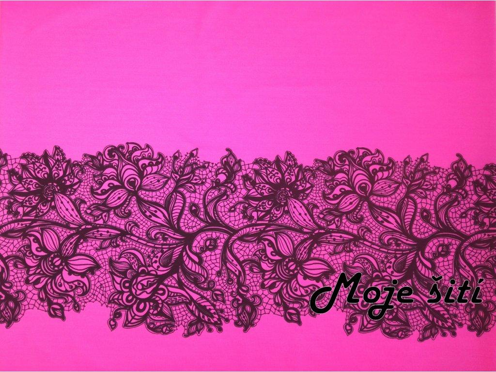 Panel na sukni Krajka na neon růžové - sportovní úplet