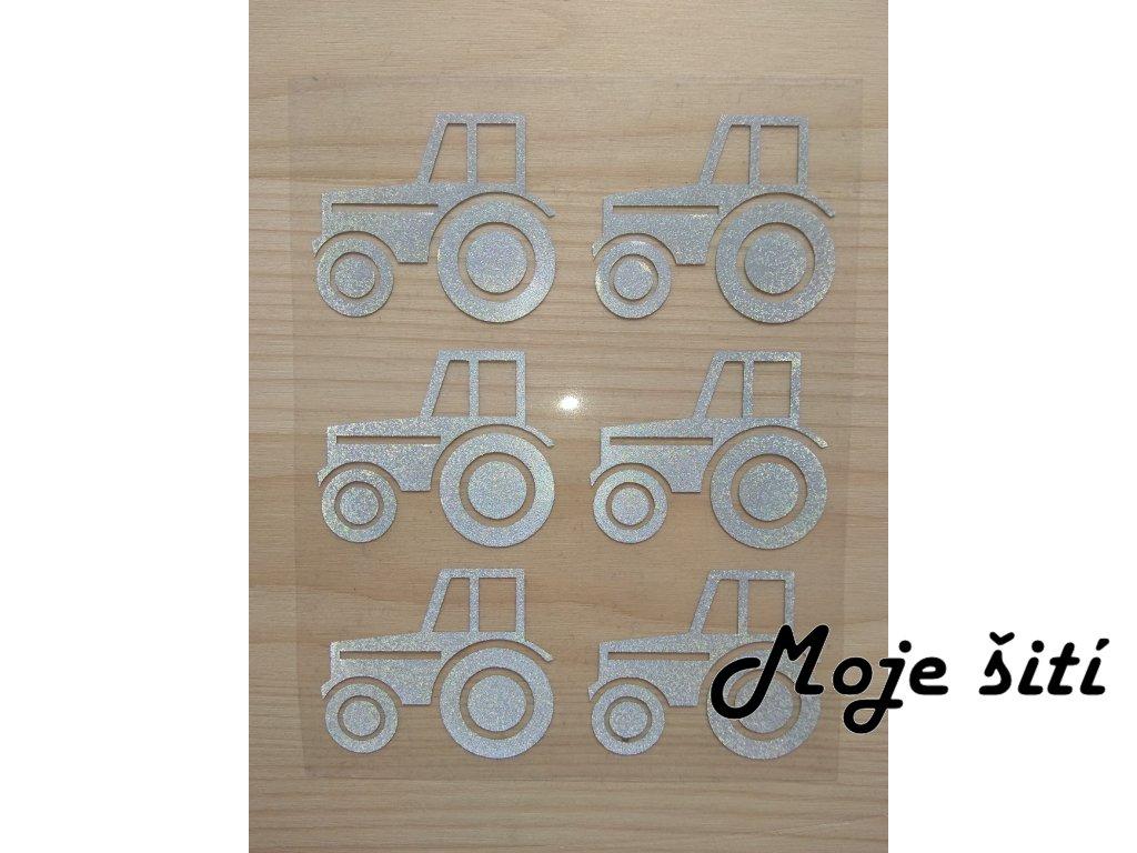 Nažehlovací reflexní obrázky - traktory 6 ks