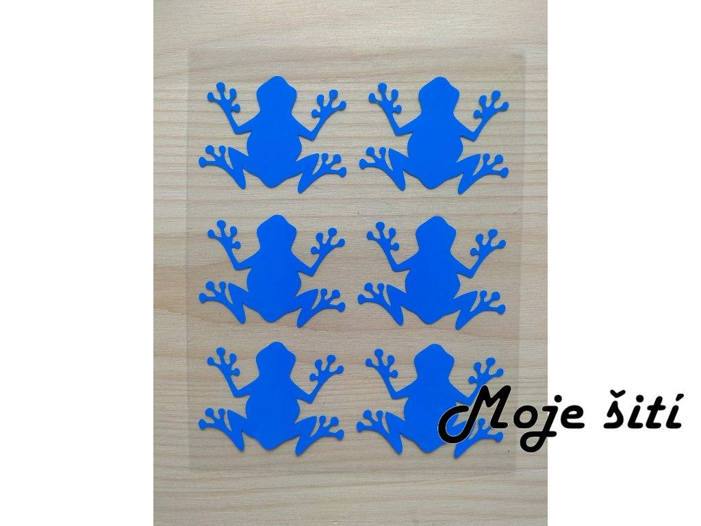 Neonové nažehlovací obrázky - žabičky 6 ks modré