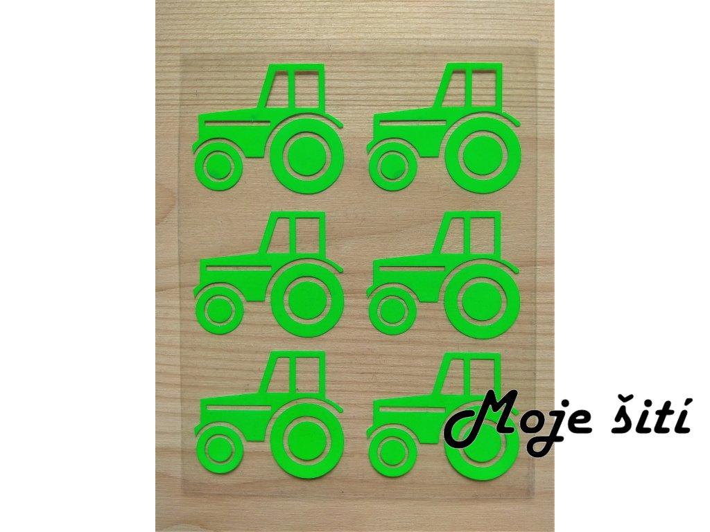 Neonové nažehlovací obrázky - traktory 6 ks zelené