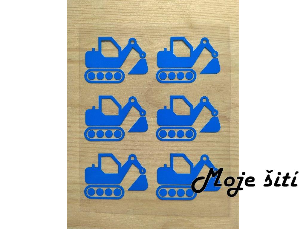 Neonové nažehlovací obrázky - bagry 6 ks modré