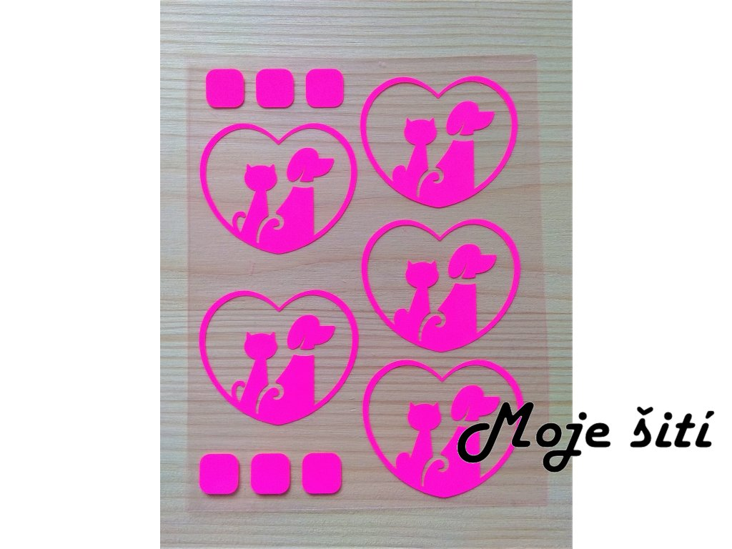 Neonové nažehlovací obrázky - pejsek a kočička růžová