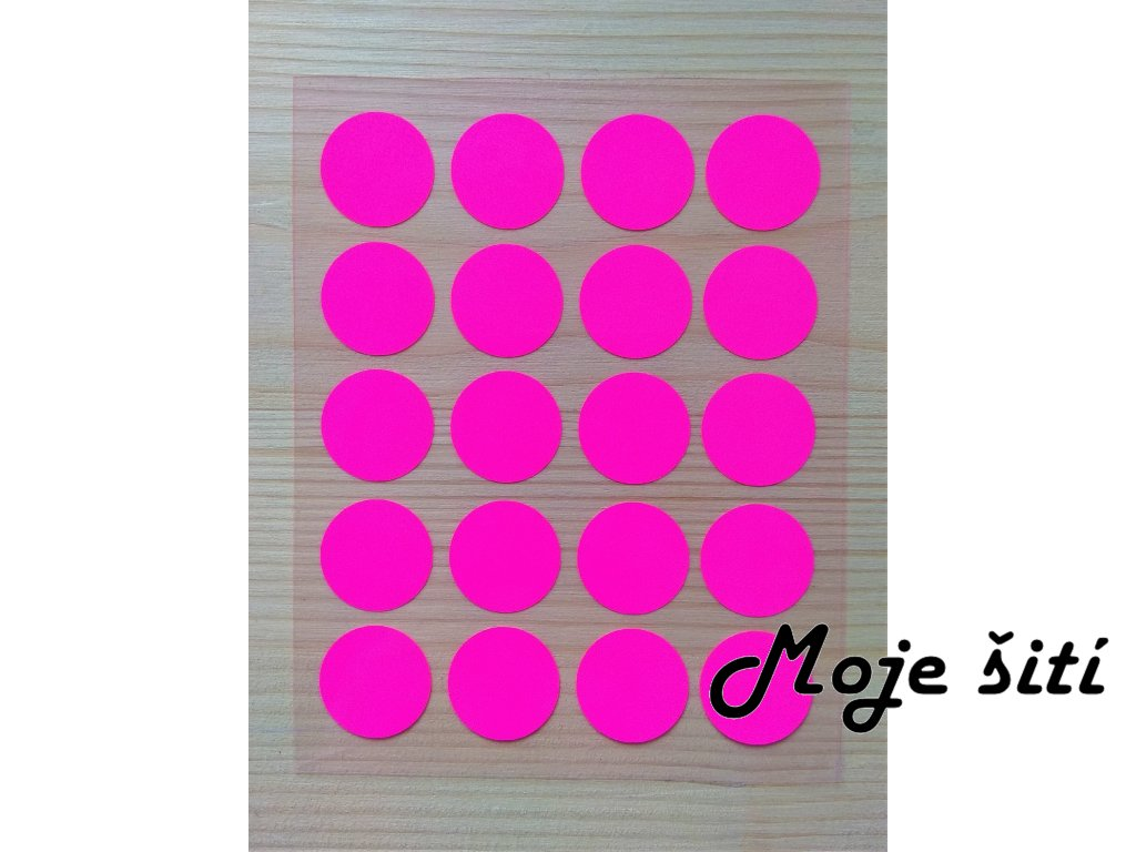Neonové nažehlovací obrázky - kolečka růžová