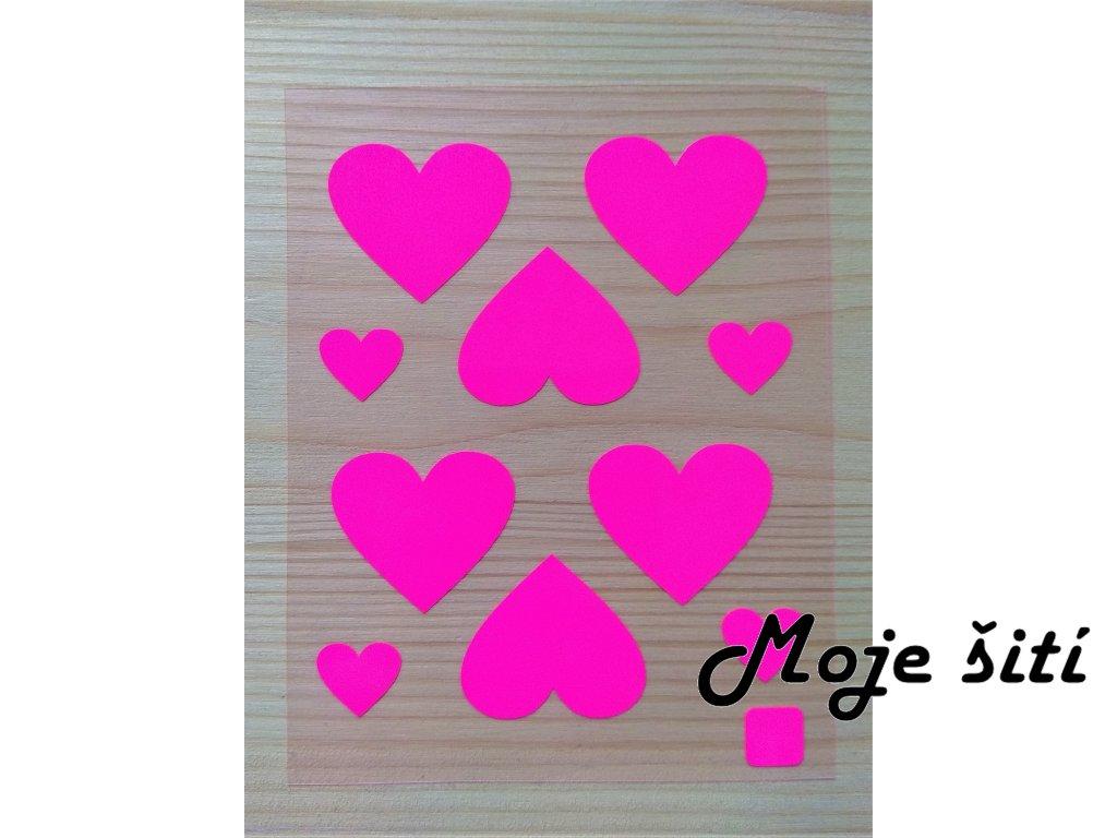 Neonové nažehlovací obrázky - srdíčka růžová