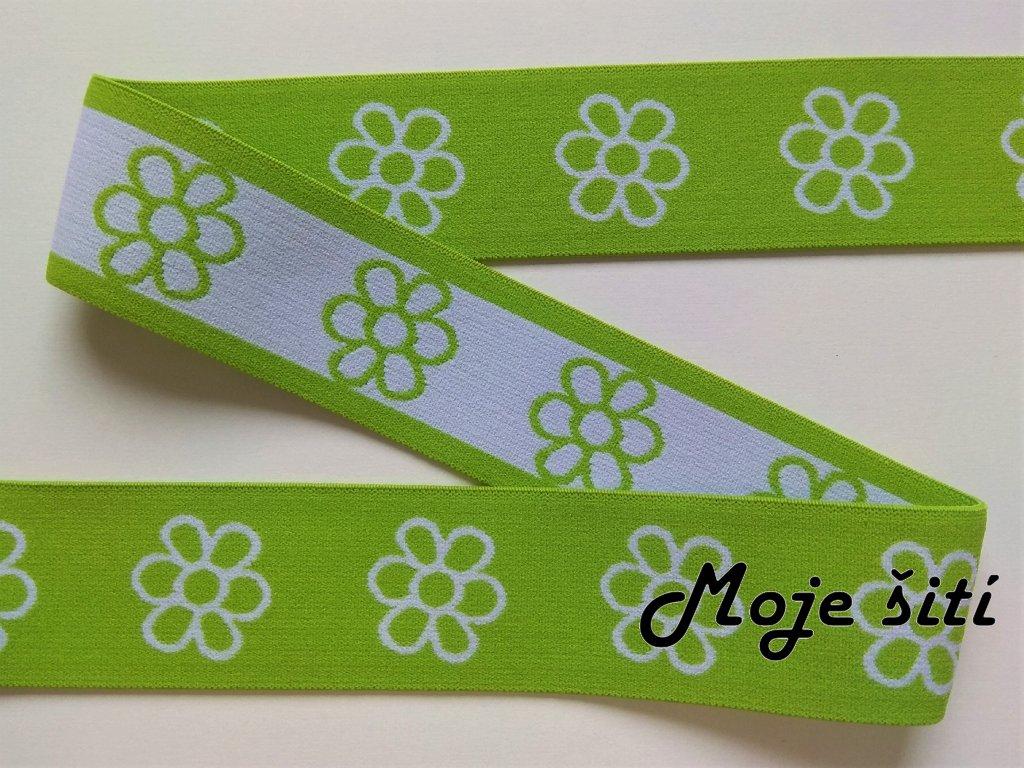 Ozdobná guma 4 cm - Kytičky zelené