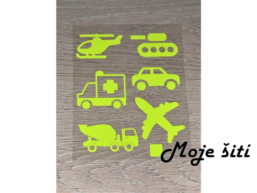 Neonové nažehlovací obrázky - dopravní prostředky žluté