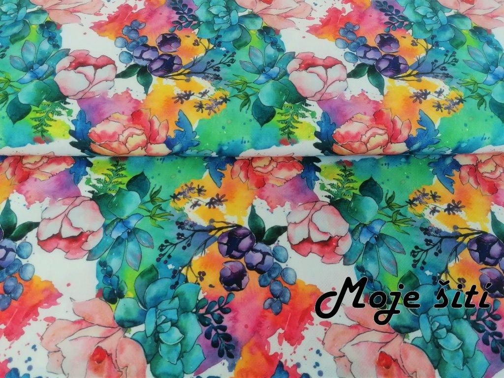 Funkční úplet/ Coolmax Akvarelové květy se sukulentem