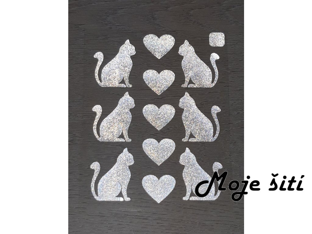 Nažehlovací reflexní obrázky - kočičky a srdíčka