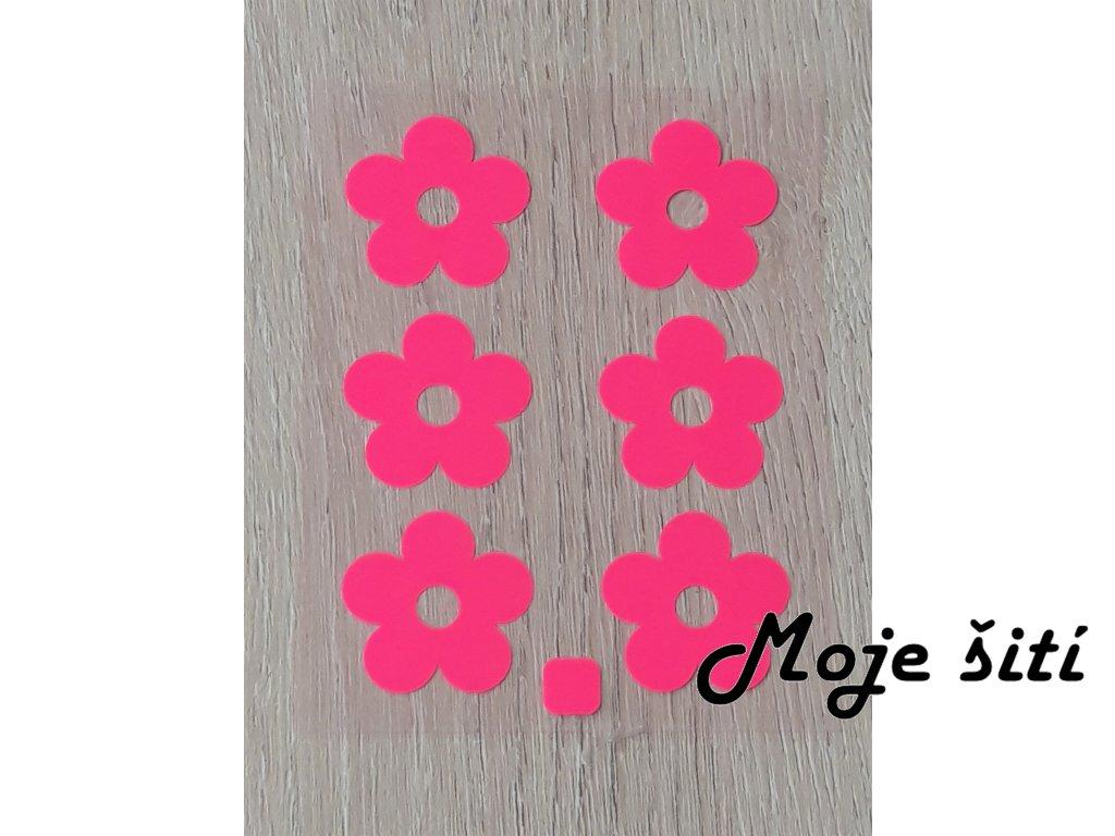 Nažehlovací neon obrázky - kytičky růžové