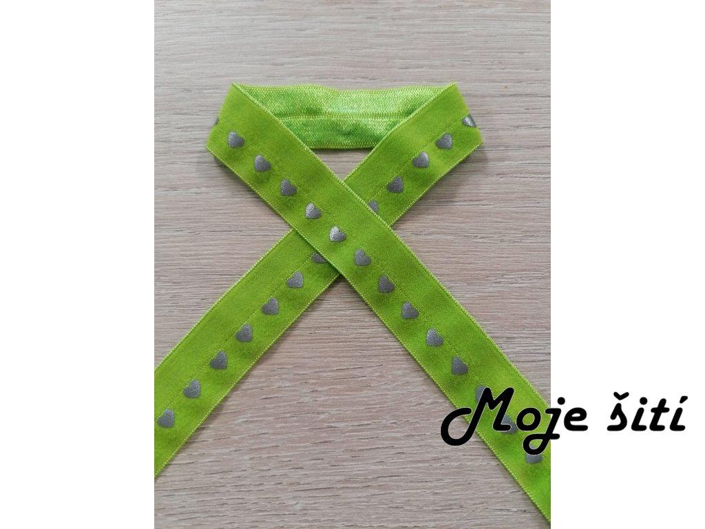 reflexni lemovaci pruzenka srdicka na neon zelene