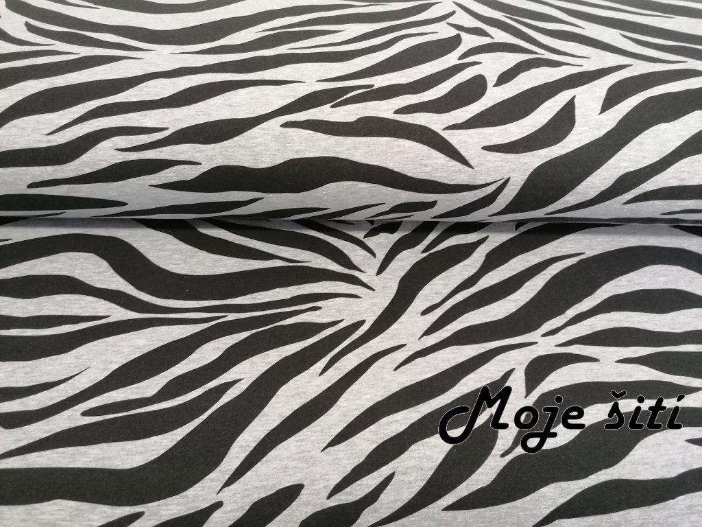 Teplákovina s elastanem Zebra na šedém melíru