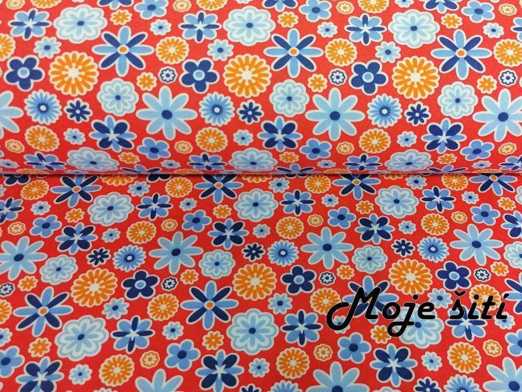 100% bavlněný úplet Modré a oranžové kytičky na červené