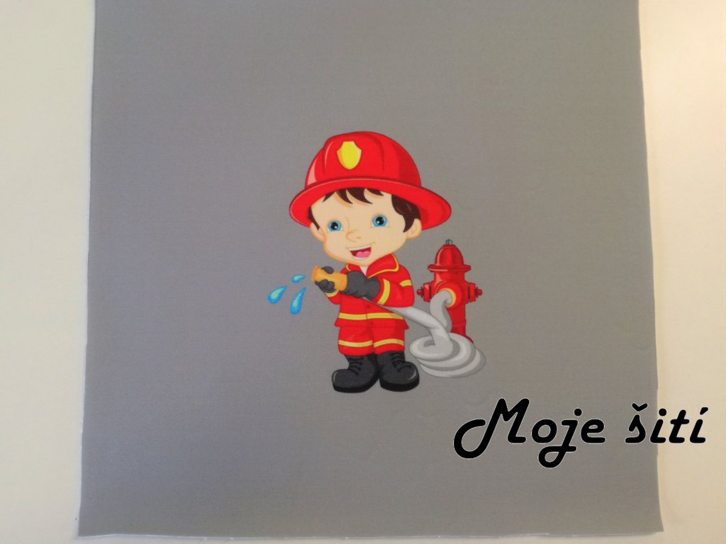 Softshellový zimní panel Malý hasič 20x20cm