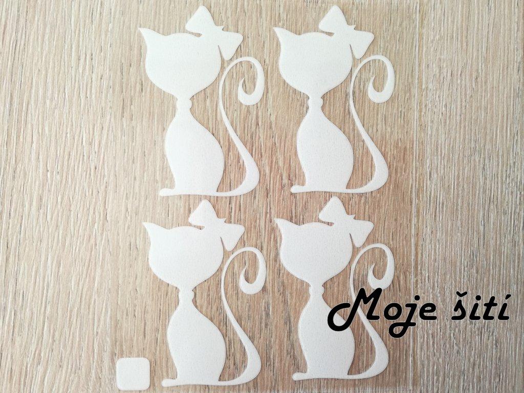 Bílé nažehlovací obrázky - kočky s mašlí
