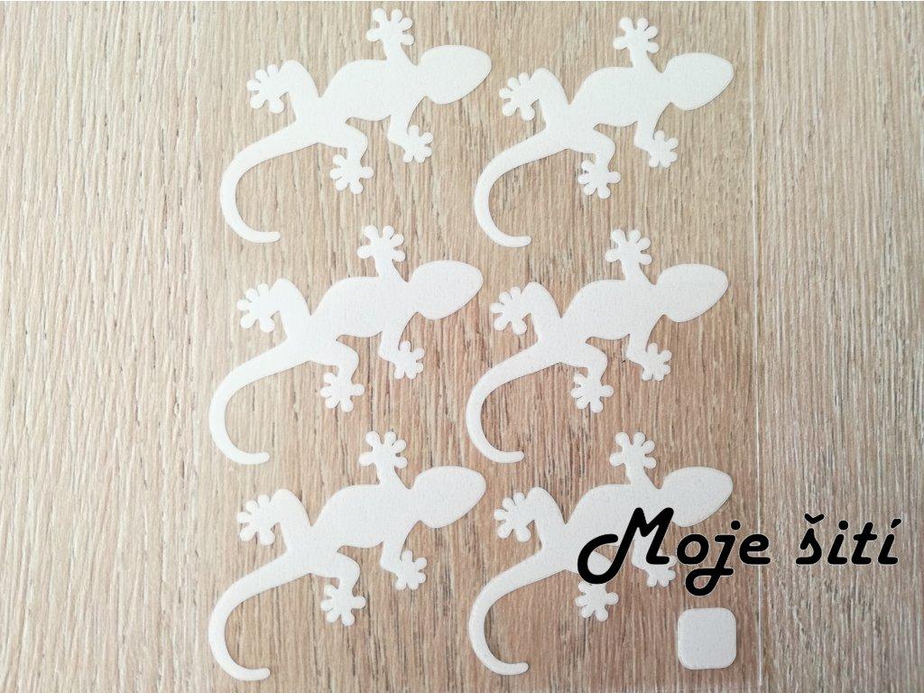 Bílé nažehlovací obrázky - ještěrky