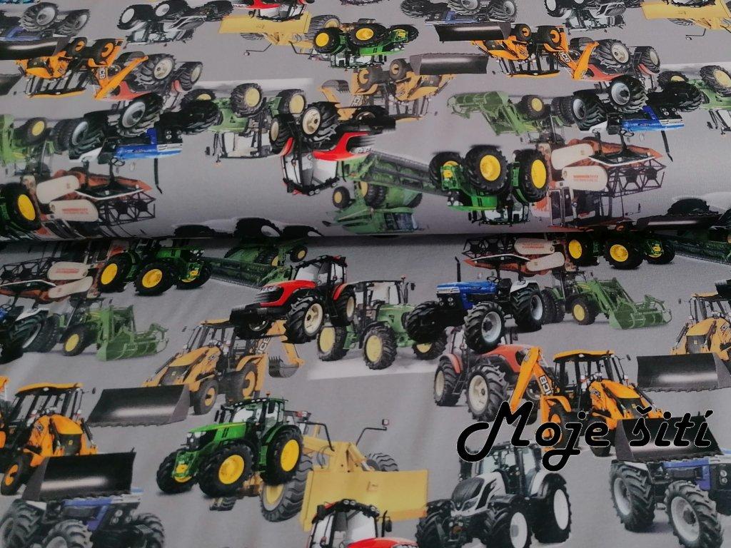 Prémiová počesaná teplákovina - Traktory a bagry