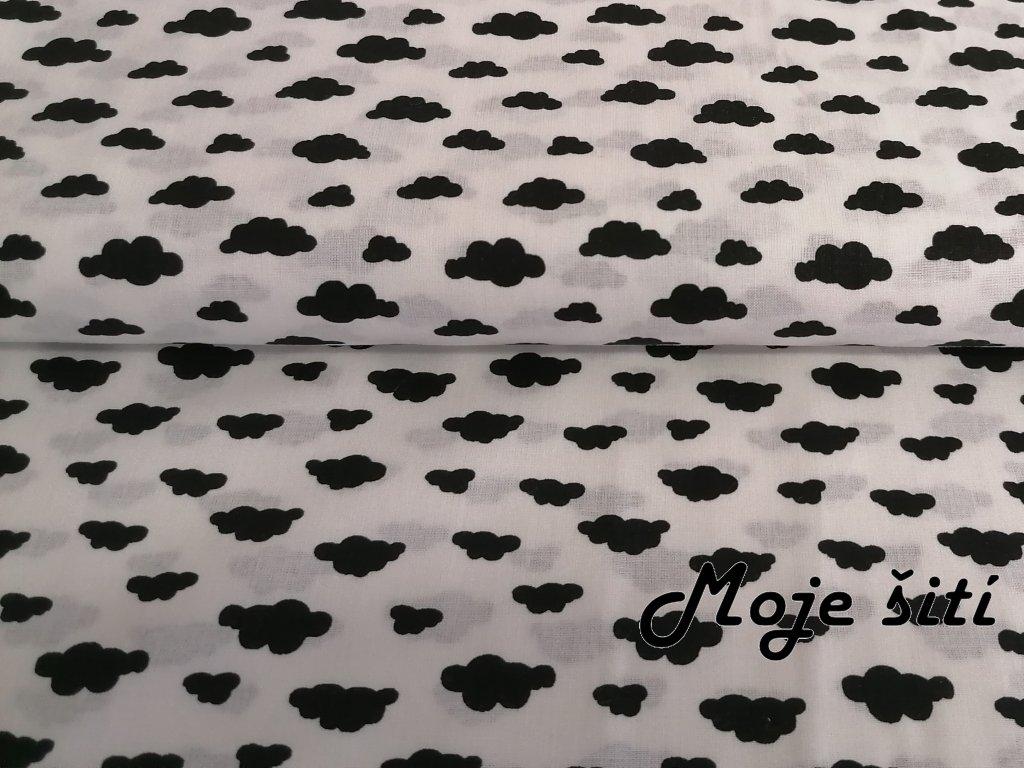 Bavlněné plátno Černé mraky na bílé