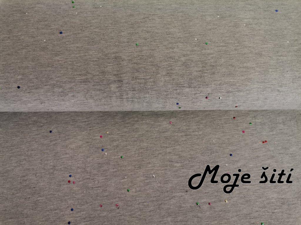 Bavlněný úplet s elastanem Třpytky na světle šedém melíru