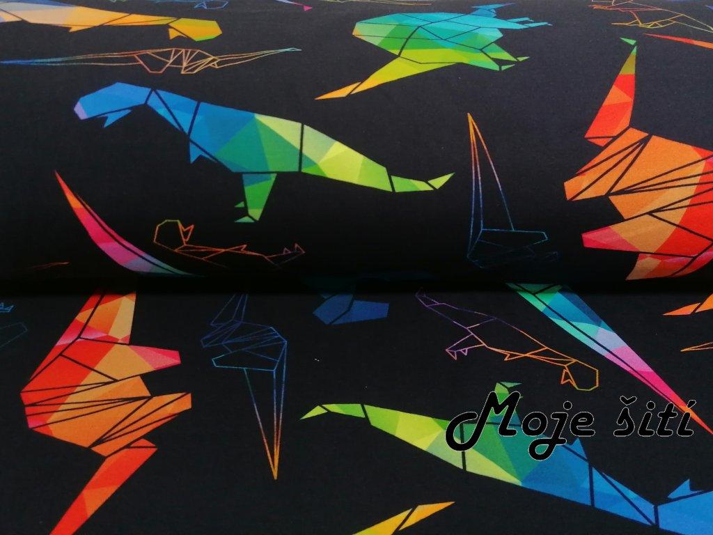 Bavlněný úplet s elastanem Barevní dinosauři - ORIGAMI - digitální tisk