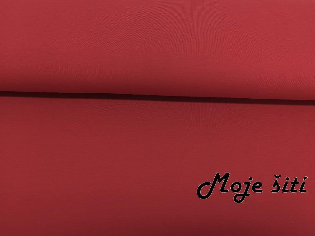 Bavlněný úplet s elastanem Matně červený K