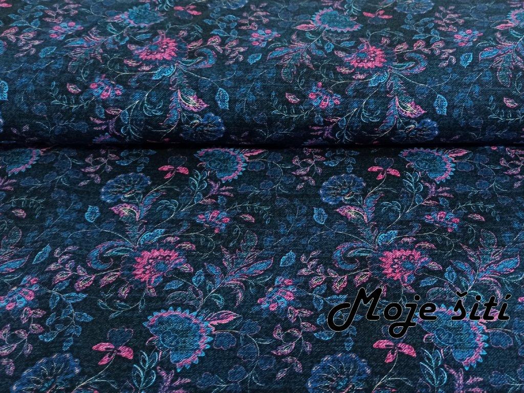 Bavlněný úplet s elastanem Květy na jeans - digitální tisk