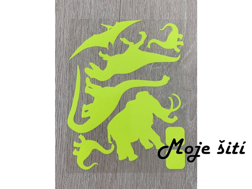 Neonové nažehlovací obrázky - mamut a dinosauři žlutí