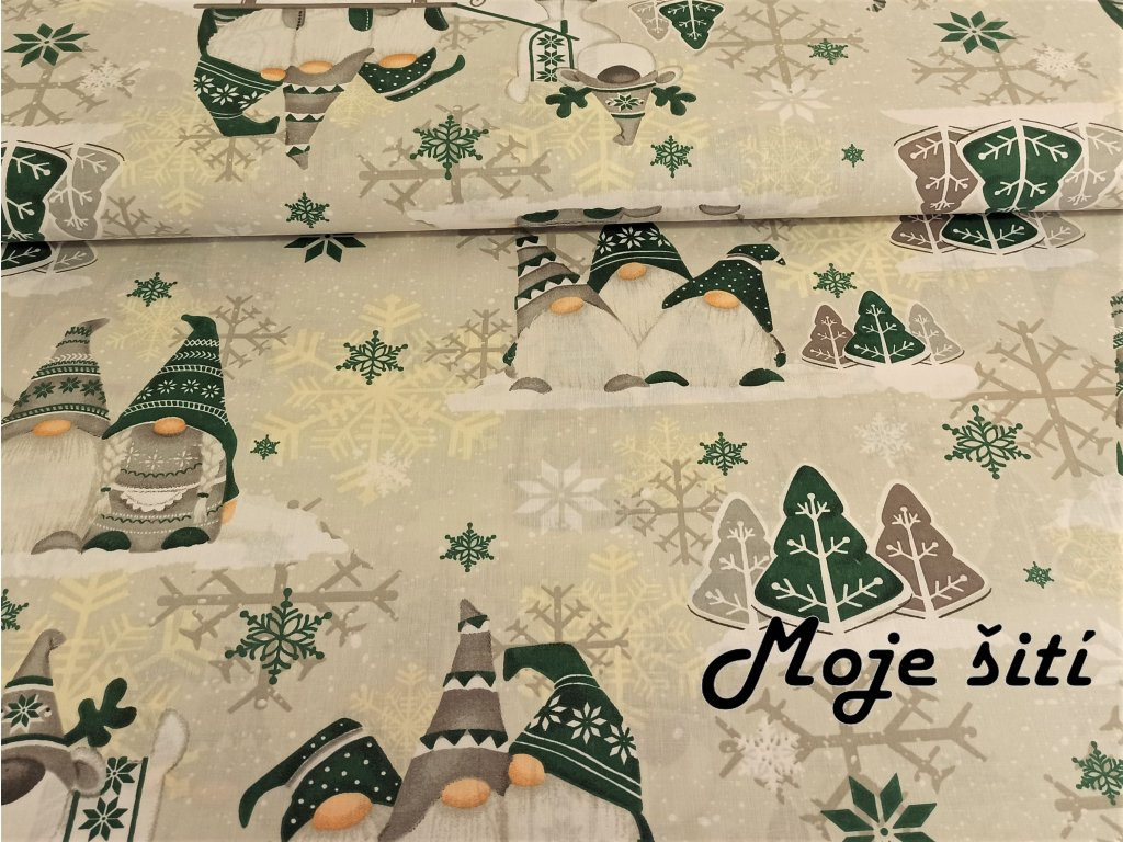 Bavlněné plátno Zelení trpaslíci
