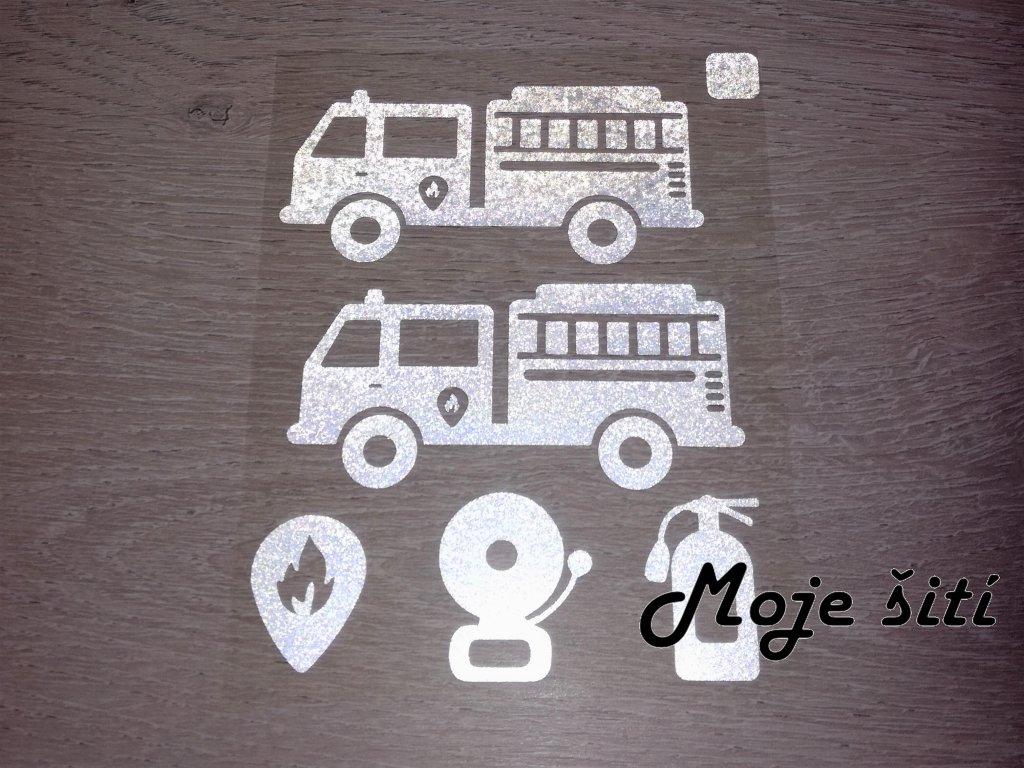 Nažehlovací reflexní obrázky - hasičská vozidla