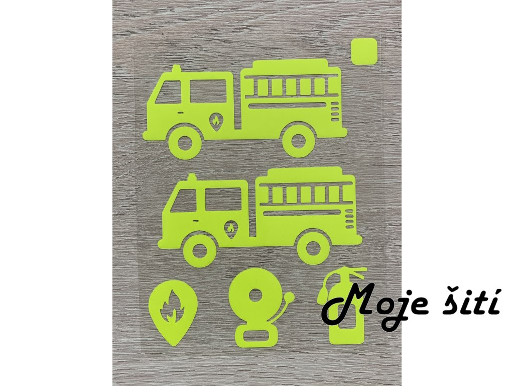 Neonové nažehlovací obrázky - hasičská auta žlutá