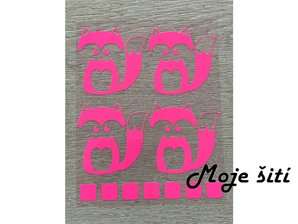 Nažehlovací neon obrázky - lištičky růžové