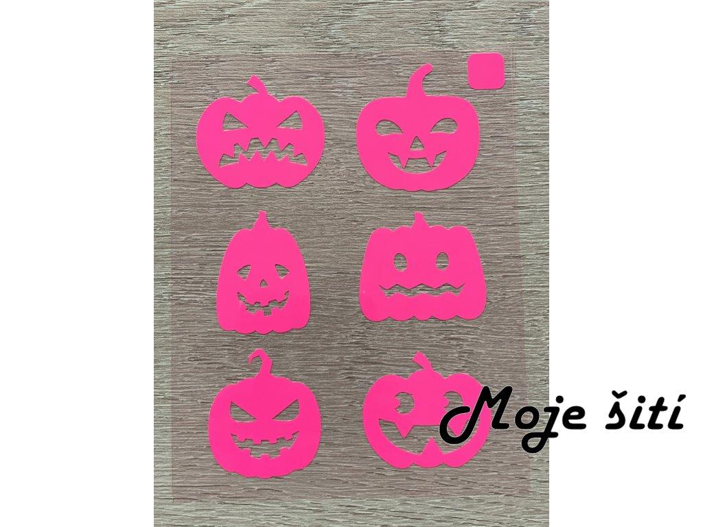 Nažehlovací neon obrázky - strašidelné dýně růžové