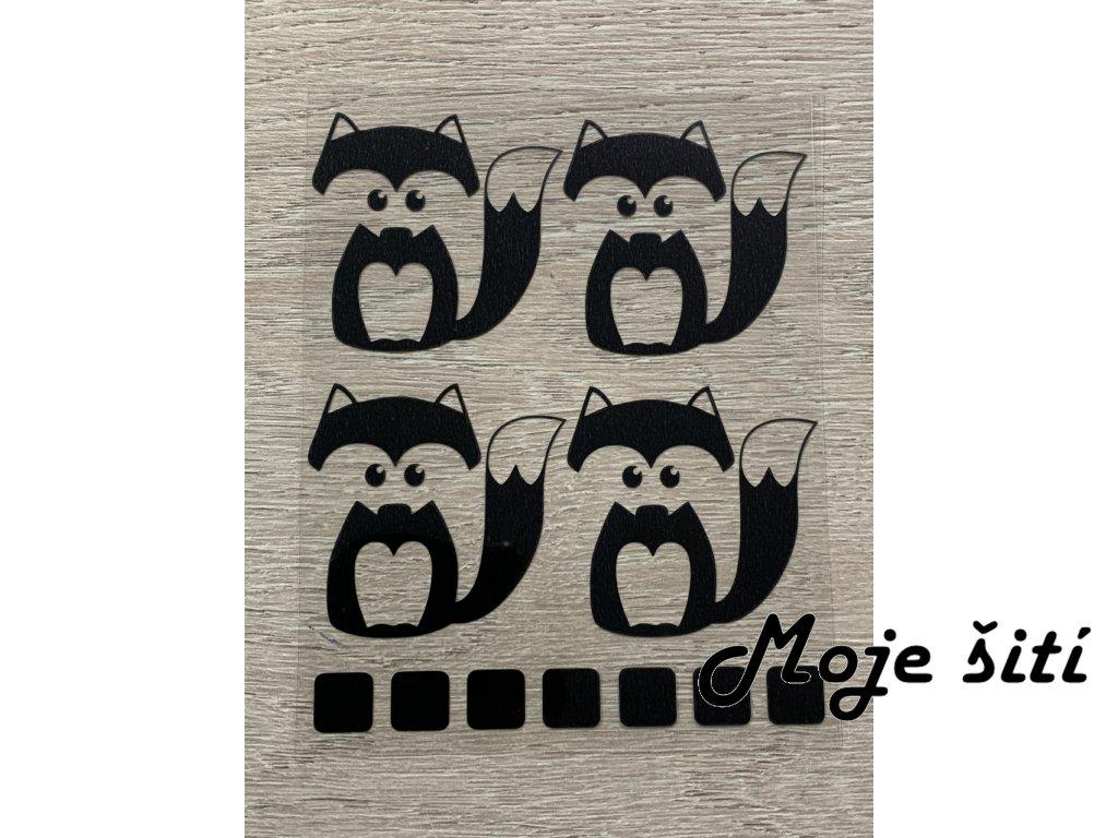 Černé nažehlovací obrázky - lištičky