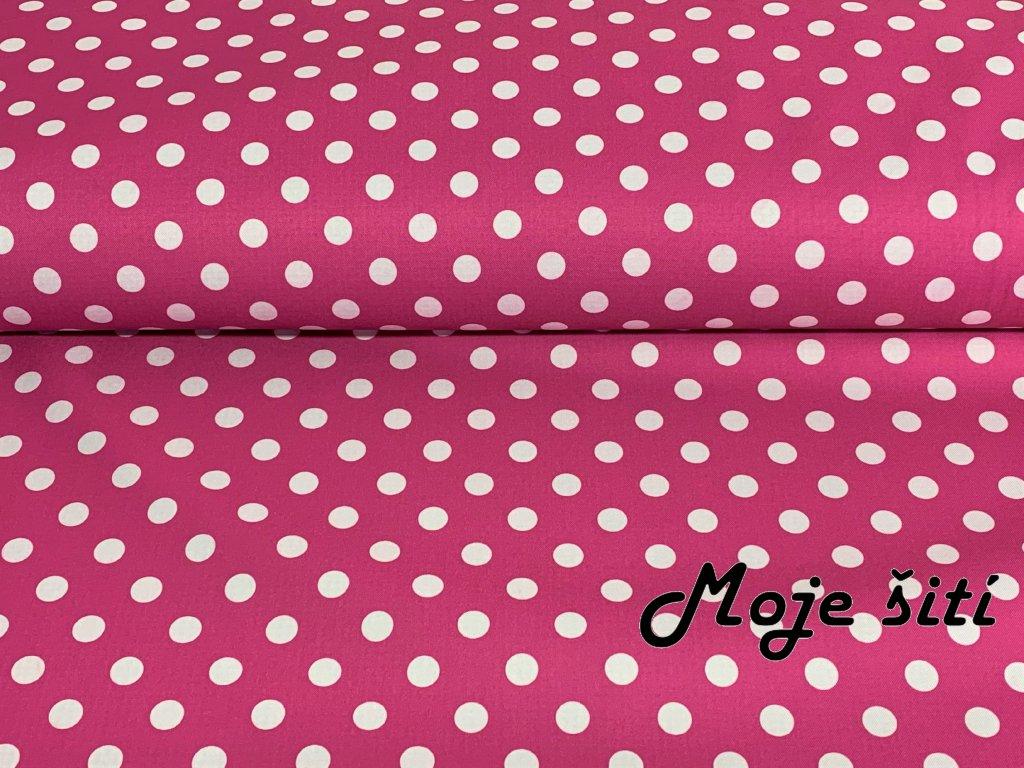 Jarní softshell Bílé puntíky na růžové 12mm