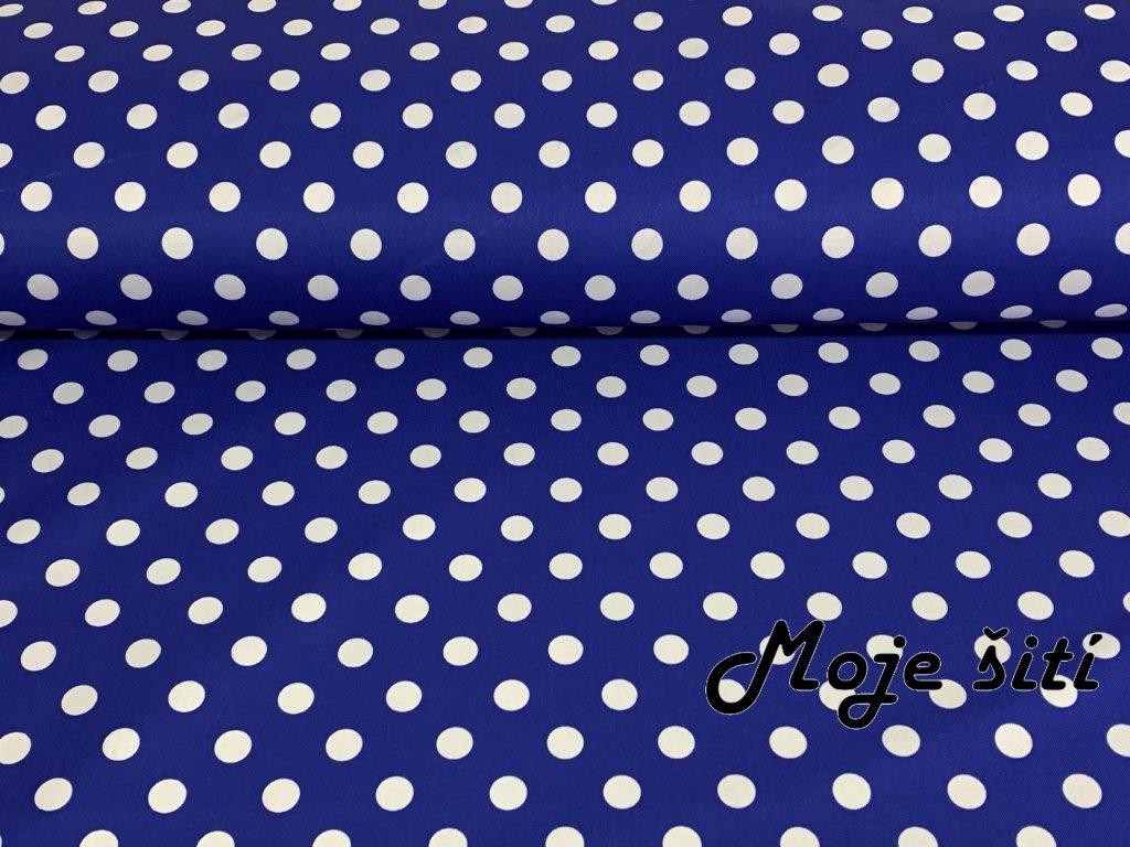 Jarní softshell Bílé puntíky na královsky modré 12mm