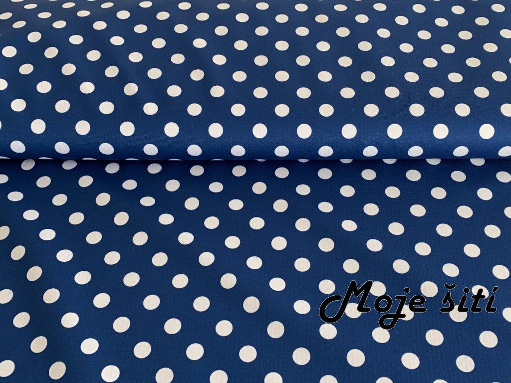 Jarní softshell Bílé puntíky na námořnicky modré 12mm
