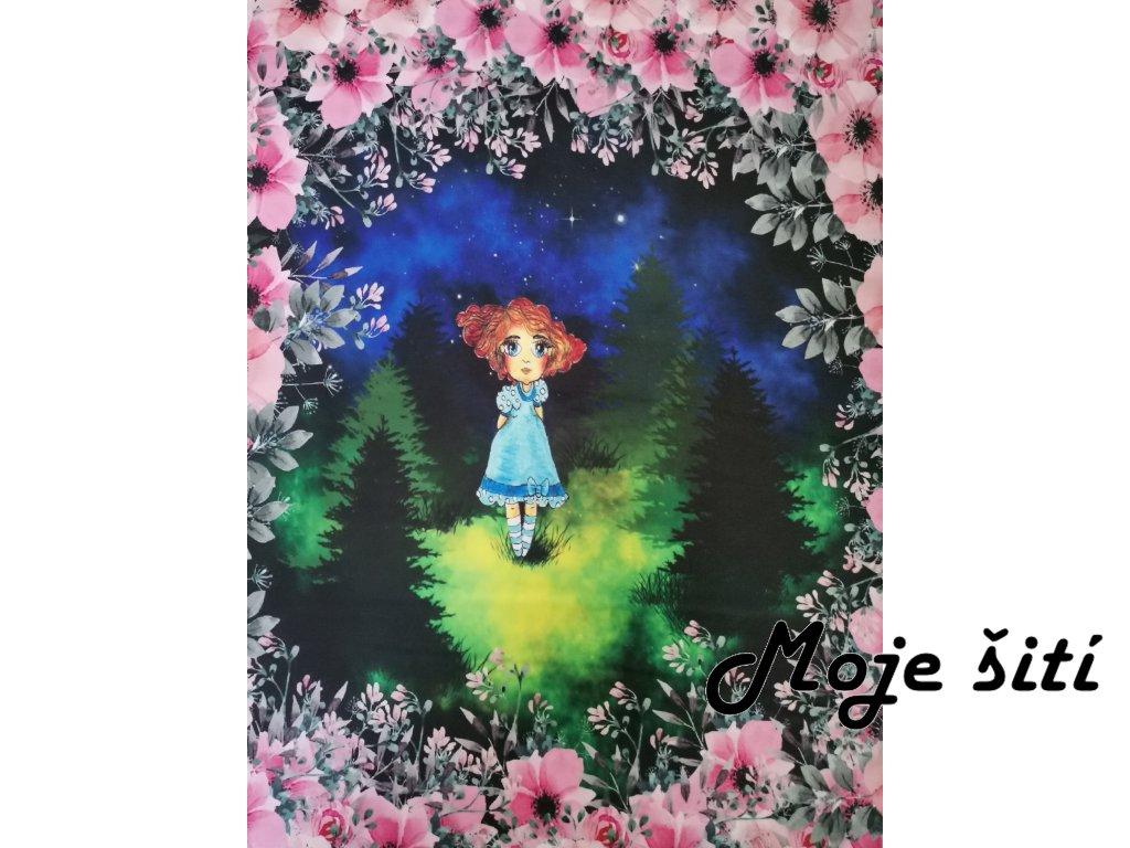 Panel Dívka v lese 47x57cm - prémiová počesaná teplákovina