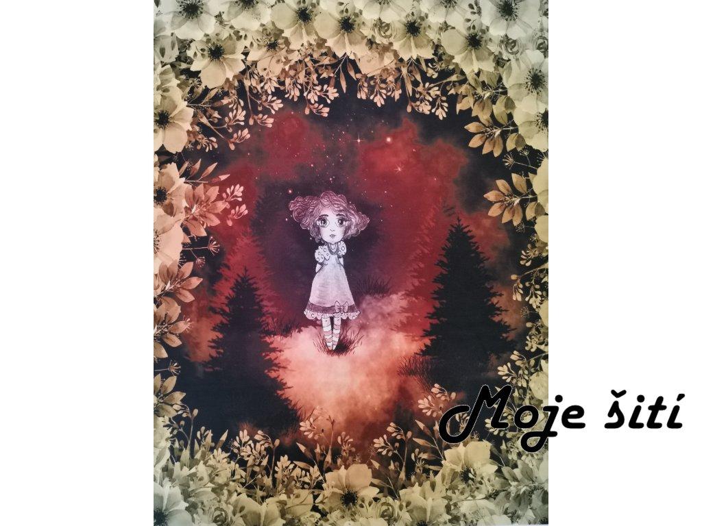 Dívka v hlubokém lese 48x58cm prémiová počesaná teplákovina