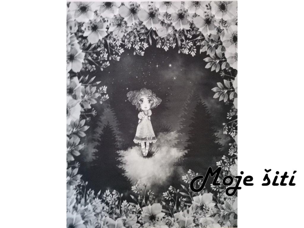 Dívka v lese černobílá lese 48x58cm prémiová počesaná teplákovina