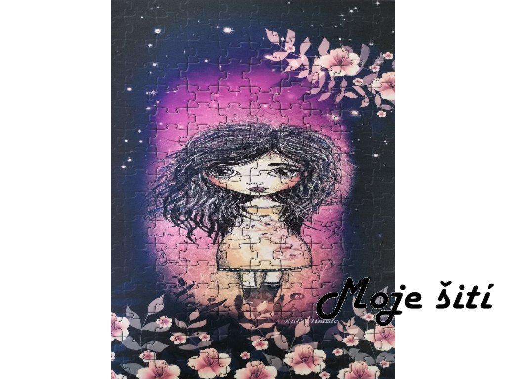 Dívka puzzle 48x58cm prémiová počesaná teplákovina