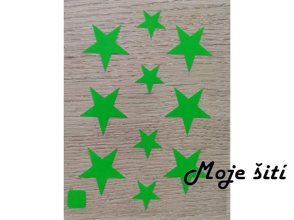 Neonové nažehlovací obrázky - hvězdičky zelené