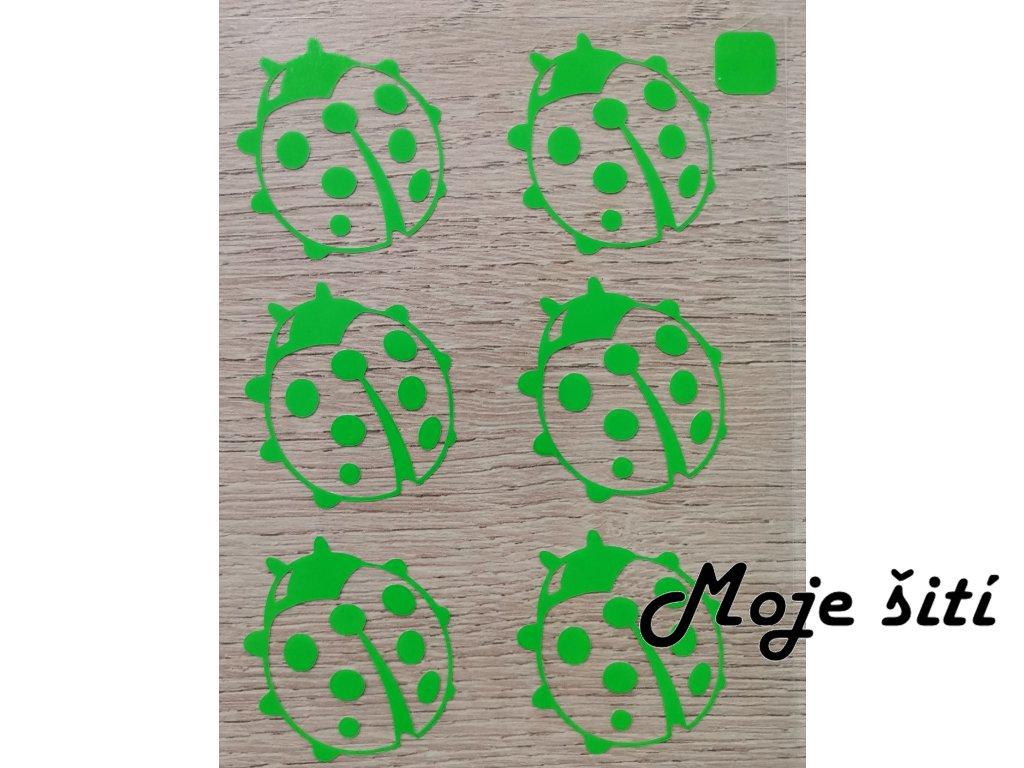 Neonové nažehlovací obrázky - berušky zelené