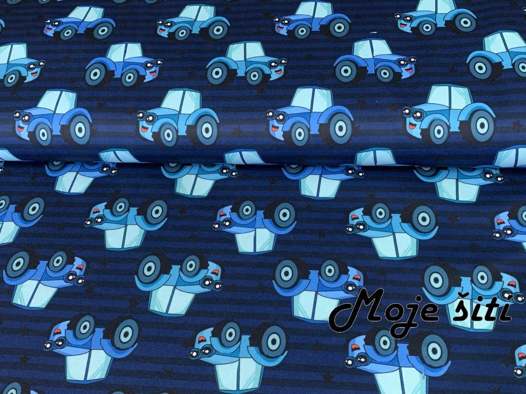 MicroFleece Traktůrky a modré pruhy